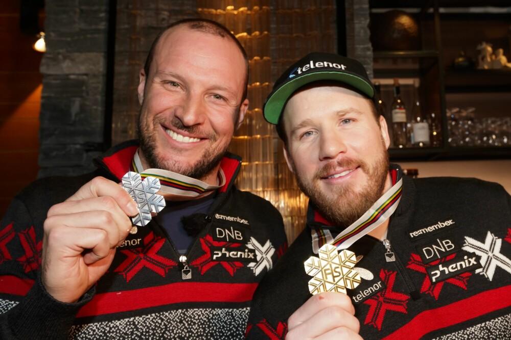 GULLGUTTER: Aksel avsluttet karrieren med VM-sølv i Åre i februar. Ekstra gøy var det nok at bestekompis Kjetil Jansrud var den som stakk av med gullet.