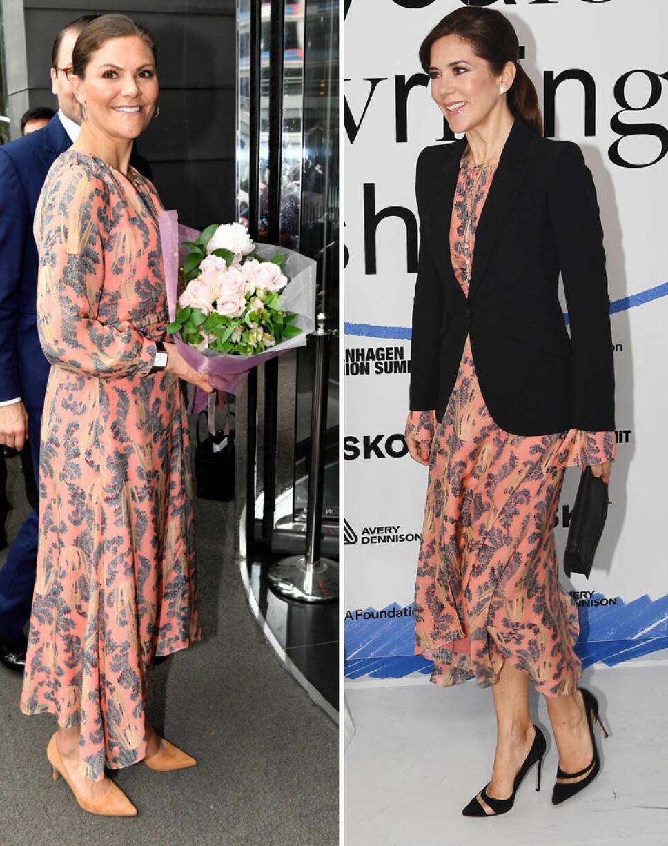NYDELIG: Kronprinsesse Victoria strålte i den korallfargede kjolen. Til høyre, kronprinsesse Mary som hadde på kjolen 15. mai på Copenhagen Fashion Summit.