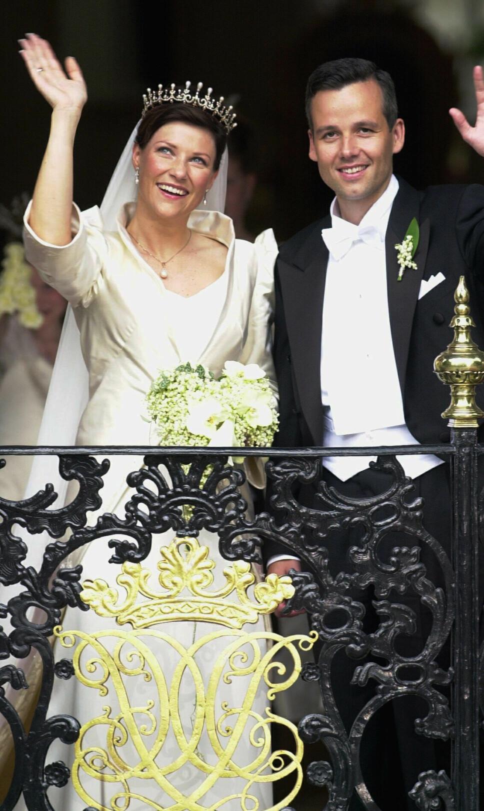 Märtha Louise og Ari Behn da de giftet seg i Nidarosdomen i Trondheim i 2002.