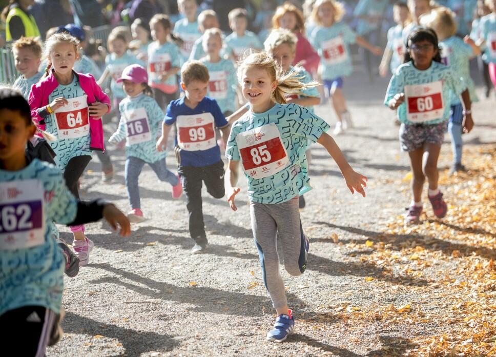 AKTIV PRINSESSE: Prinsesse Estelle er en aktiv jente. Her deltar hun i et løp i Hagaparken i 2018.