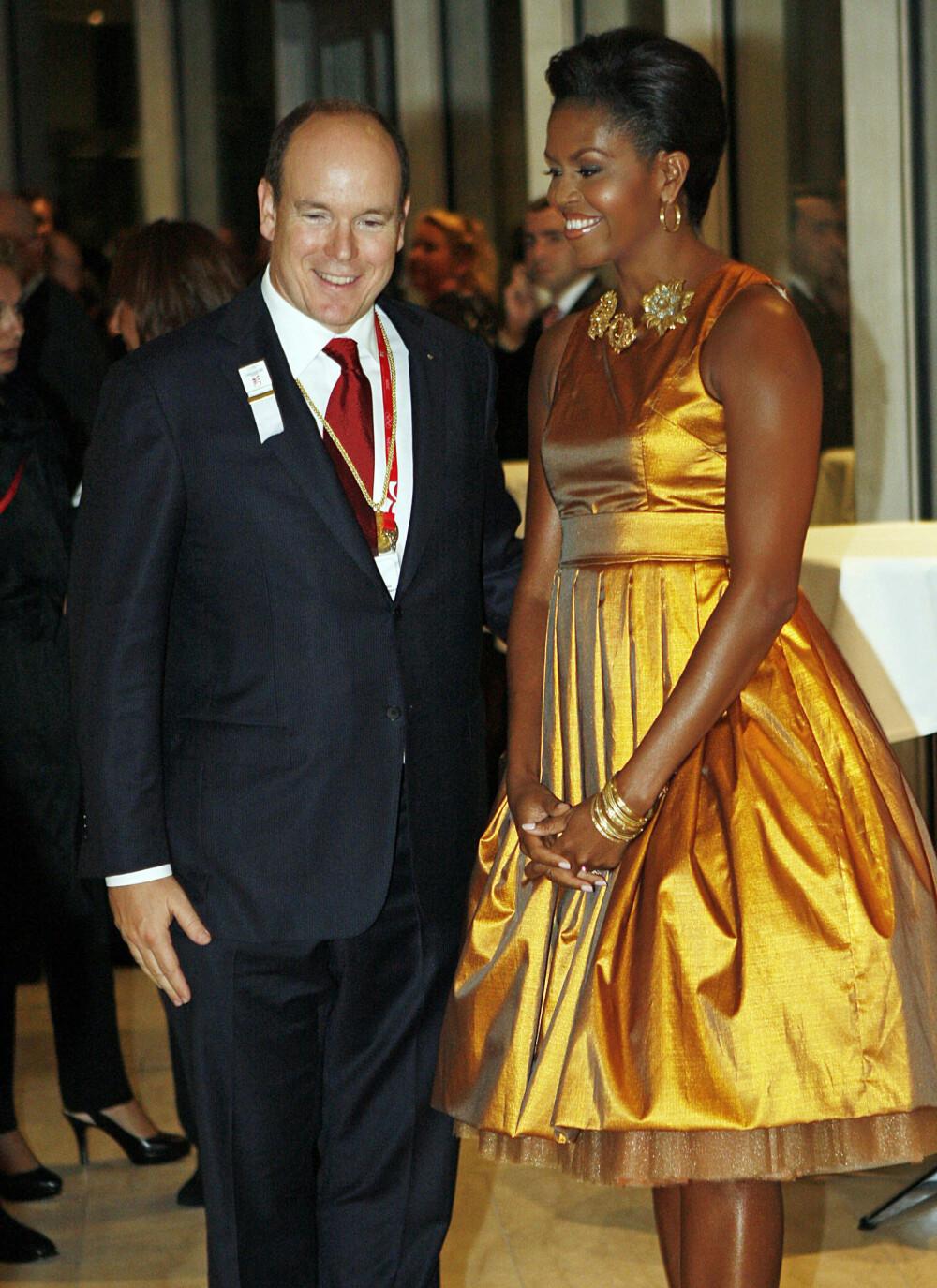 <b>FINT GJENSYN:</b> Obama-ekteparet spiste middag sammen med Monacos fyrste på The Grill i Monte Carlo.Her er Albert og Michelle sammen ved en tidligere anledning.