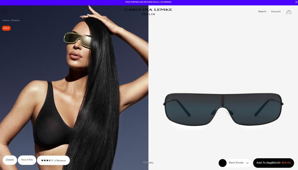 SAMARBEIDET: Kim Kardashian med de mye omtalte solbrillene i sitt nyeste samarbeid med den tyske designeren Carolina Lemke.