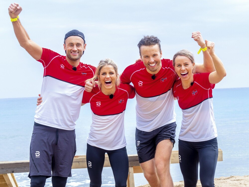 SKAL SLÅ SVERIGE: I april deltok Petter, Therese Johaug, Emil Iversen og Tiril Eckhoff i innspillingen av «Landskampen» på Rhodos. Der kjemper de fire mot svenske idrettsutøvere. Programmet skal på skjermen i løpet av året.
