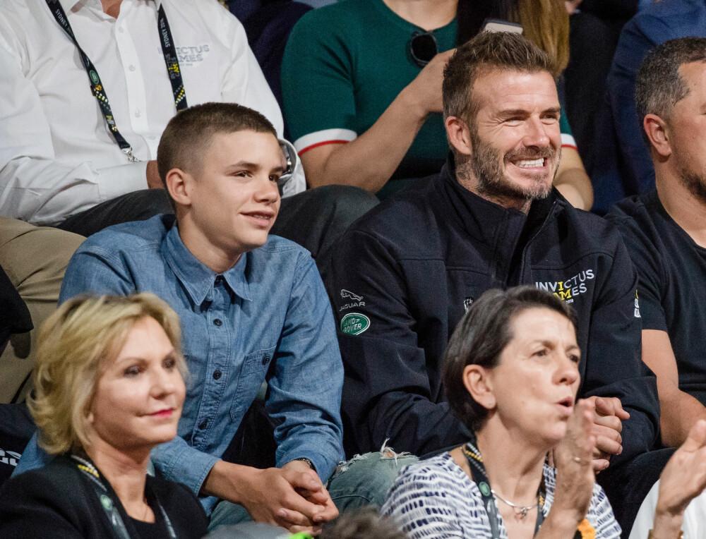 <b>KJEKKASER:</b> Den tidligere fotballstjernen David Beckham (44) har fire barn sammen med kona Victoria, men det er vel liten tvil om at det er den mellomste sønnen, Romeo (16) som er mest lik sin berømte pappa. Unge Romeo er en kopi av faren da han var yngre, og det spørs vel om ikke 16-åringen bare vil bli mer og mer lik pappa David.