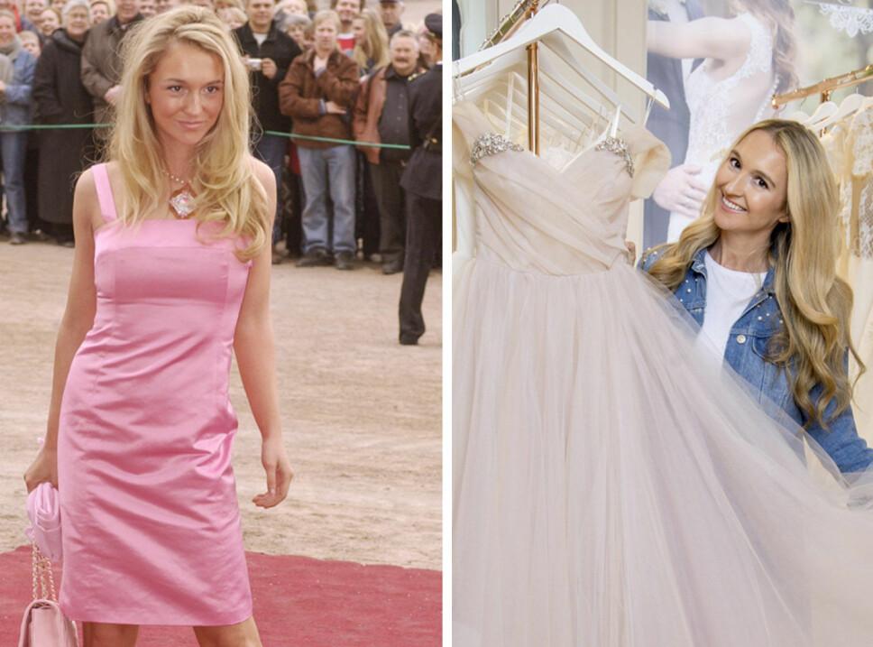 STERKT INNTRYKK: Pia ble kjent da hun stilte opp på den røde løperen i en rosa kjole under dåpen til prinsesse Ingrid Alexandra i 2004. Nå jobber hun med bryllupsplanlegging og har allerede funnet brudekjolen hun vil ha selv .
