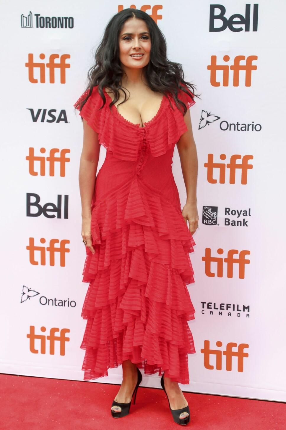 Salma Hayek i en fantastisk kjole fra Alexander McQueen.