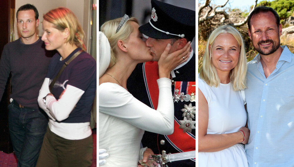 FRA FESTIVAL TIL BRYLLUP: Haakon og Mette-Marit møttes på Quart-festivalen i Kristiansand og det oppsto varme følelser i 1999. I 2001 giftet de seg og ble hele Norges kronprinspar. Vi ser tilbake på forholdet deres de siste 20 årene.
