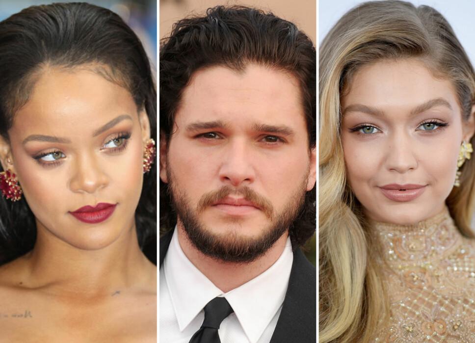 ANDRE NAVN: Rihanna, Kit Harington og Gigi Hadid har egentlig helt andre fødenavn.