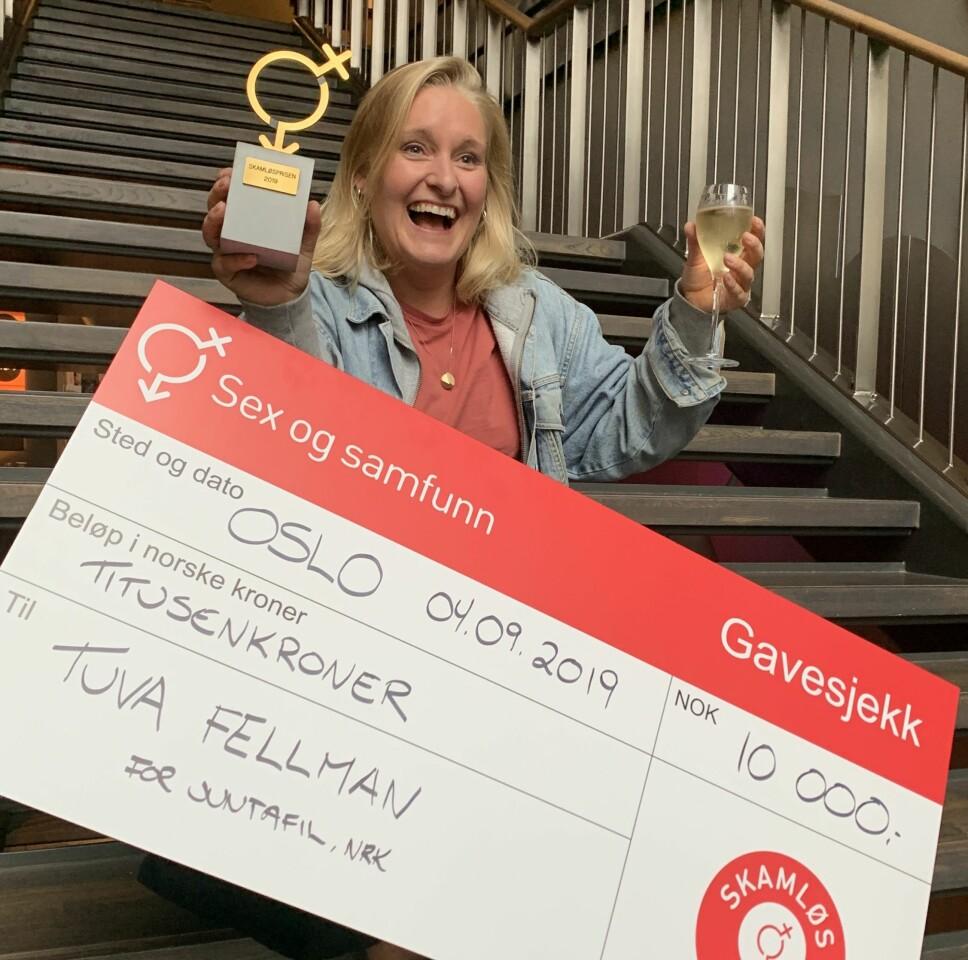 SKAMLØS: Radioprogramleder Tuva Fellman vant Sex og samfunns Skamløspris for sitt engasjement og åpenhet rundt sex og seksualitet.