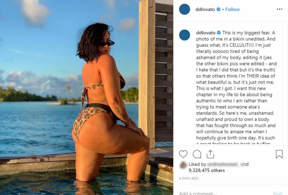 UREDIGERT: Dette bildet la Demi Lovato ut på Instagram-kontoen sin nylig, og skriver at hun er lei av å skamme seg over kroppen sin.