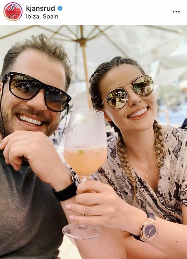SKÅL!: Kjetil Jansrud så ut til å ha en skikkelig drømmeferie på den spanske øya Ibiza sammen med kjæresten Benedicte Isabel Mortensen og familien.