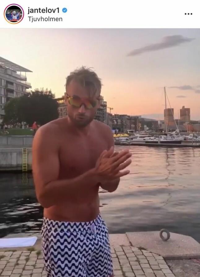 <b>BALL OG BADING:</b> I Oslo har Petter spilt kjendiskamp under Norway Cup og vist frem sine kreative stup i havet på Tjuvholmen. Sjekk videoen hans på Instagram.