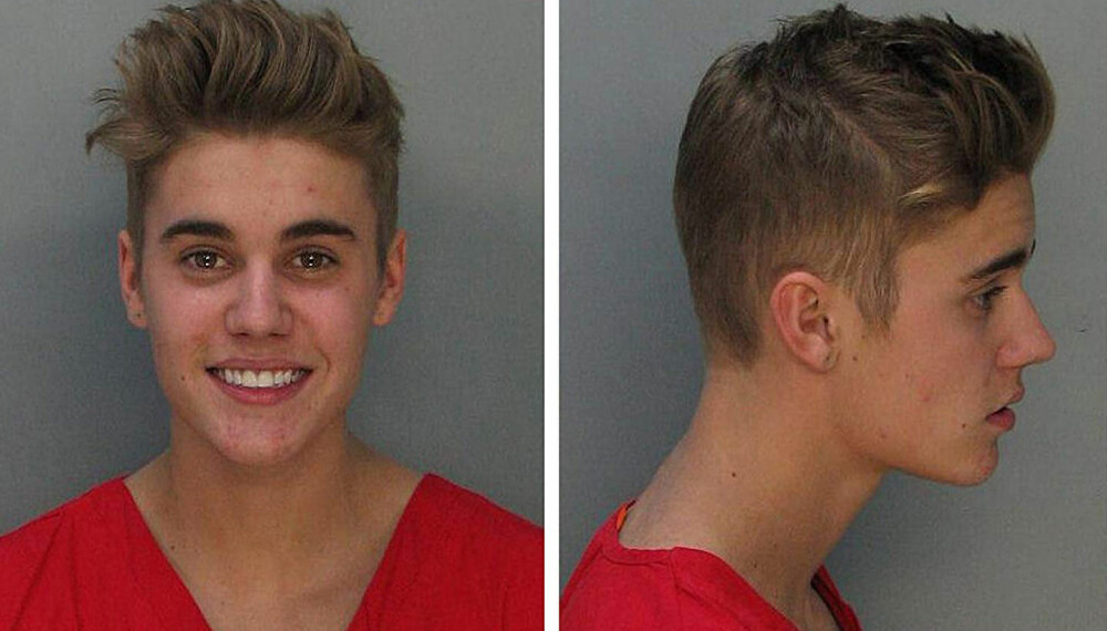 BERØMT: Justin Biebers mugshot fra 2014.