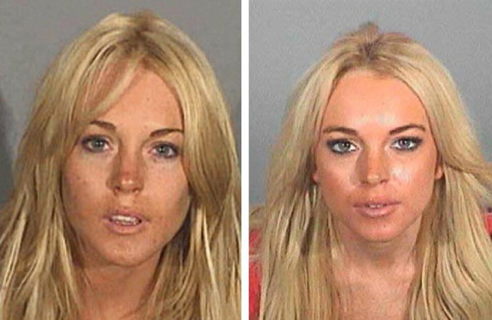 2007: Lindsay Lohan ble fotografert i arresten hos politiet to ganger i 2007. Bildet til venstre er fra juli 2007, bildet til høyre fra november 2007.