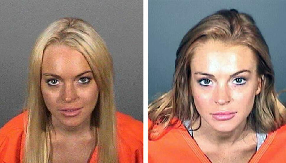 2010: Mugshotsene viser Lindsay Lohan ved to forskjellige anledninger i 2010. Bildet til venstre er fra juli 2010, bildet til høyre er fra september 2010.