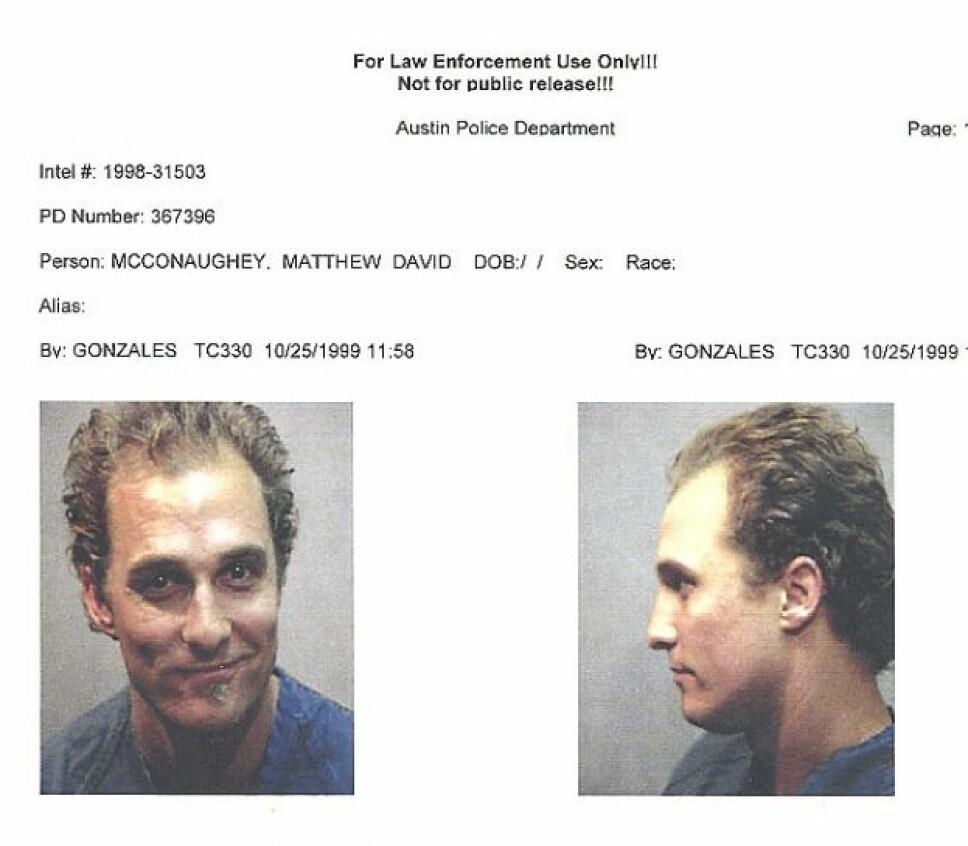 GLAD I BONGOTROMMER: Matthew McConaughey spilte bongotrommer altfor høyt, noe som fulgte til at politiet ble tilkalt til stedet og arresterte ham for mistanke om besittelse av marihuana.
