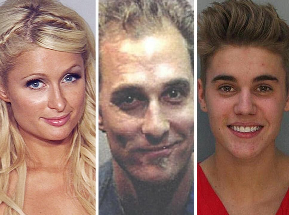 ARRESTERT: Både Paris Hilton, Mattew McConaughey og Justin Bieber har vært på kant med loven.