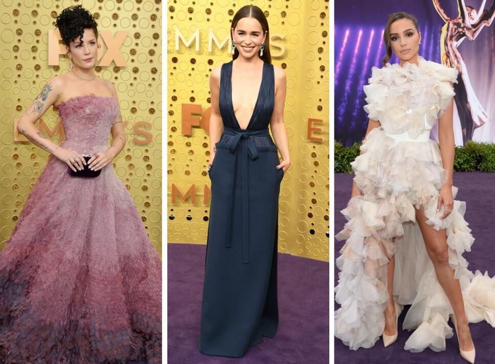 EMMY'S: Halsey (f.v.), Emilia Clarke og Olivia Culpo under Emmy-utdelingen.