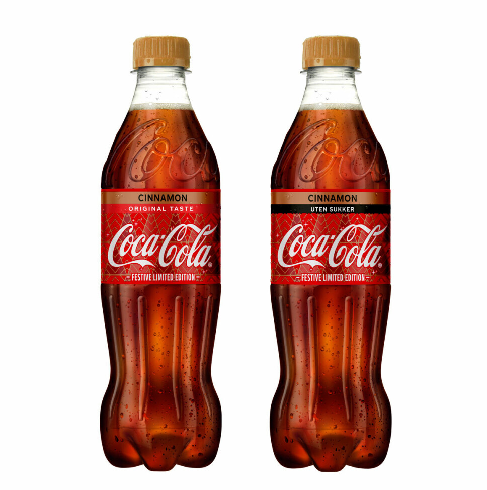MED OG UTEN SUKKER: Nyheten Coca-Cola med kanelsmak kommer både med og uten sukker.