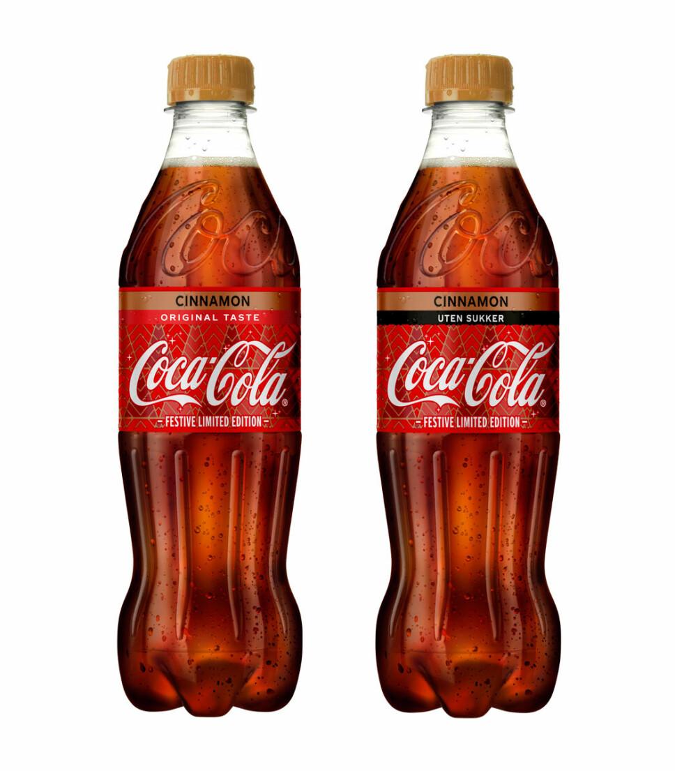NYE SMAKER: Coca-Cola lanserer i disse dager to nye brustyper med kanelsmak - en variant med og en uten sukker.