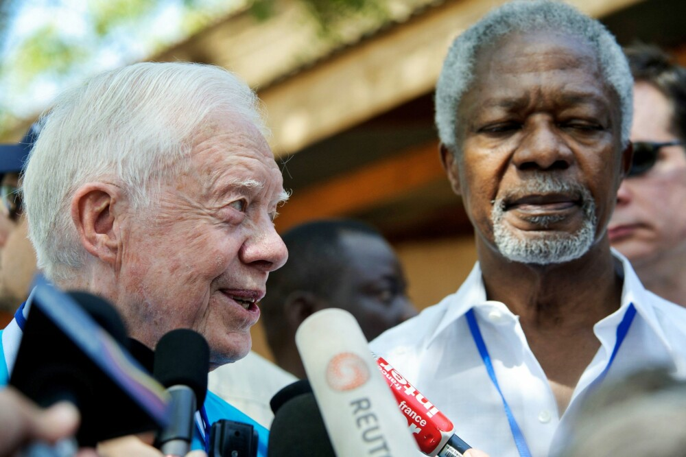 USAs ekspresident Jimmy Carter og avdøde Kofi Annan, tidligere generalsekretær i FN.