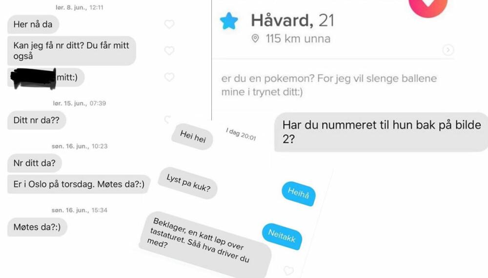 ELEGANT UTVALG: Noen av det verste (beste) fra norsk Tinder.