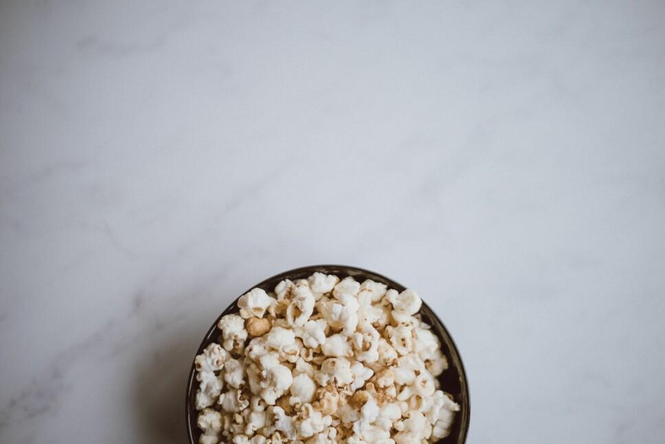 Popcorn er en snacksfavoritt.