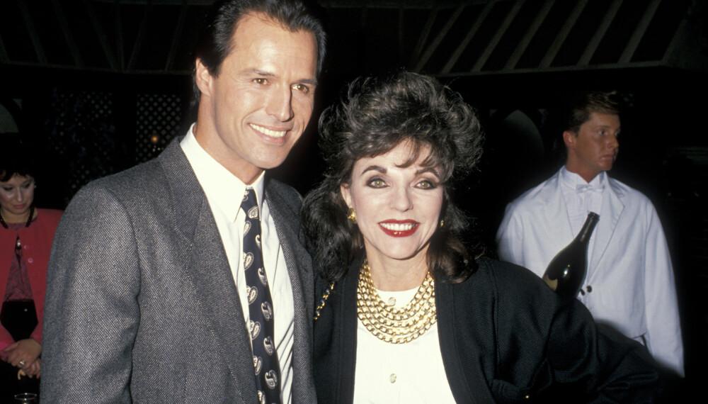 1988: Michael Nader poserer med skuespiller Joan Collins i 1988. Noe nyere bilde av Nader var dessverre ikke å oppdrive i våre bildedatabaser, men han lever i beste velgående og er gift i dag.