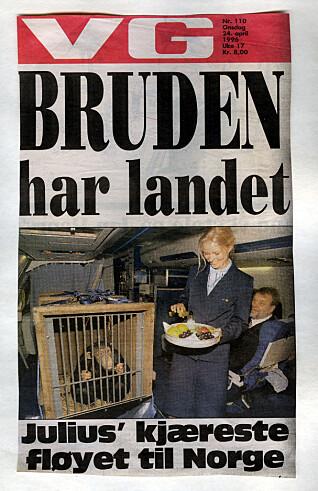 KJENDIS: Julius' nye flamme Miff havnet på forsiden av VG da hun ble sendt til Norge i 1996.